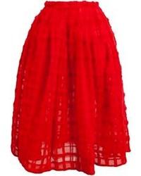 Falda campana con relieve roja