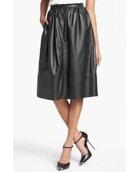 Falda campana de cuero negra
