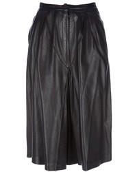 Falda campana de cuero negra de Celine
