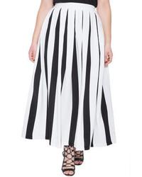 Falda campana de rayas verticales en blanco y negro