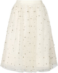 Falda campana de tul en beige