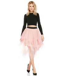 Falda campana de tul rosada
