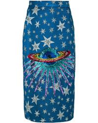 Falda con adornos azul de Gucci