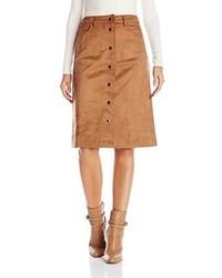 Falda con botones de ante en tabaco de Glamorous