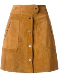 Falda con botones de ante marrón de Maison Margiela