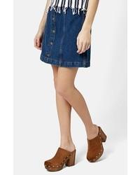 Falda con botones vaquera azul