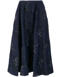 Falda con print de flores azul marino de Rochas