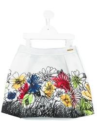 Falda con print de flores blanca