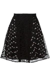 Falda con print de flores negra de Giamba