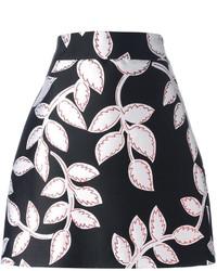Falda con print de flores negra de MSGM