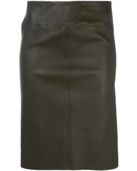 Falda de cuero en marrón oscuro de Joseph
