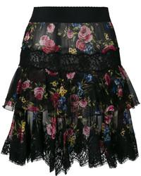 Falda de encaje con print de flores negra de Dolce & Gabbana