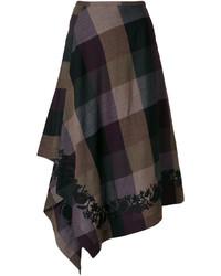 Falda de lana a cuadros marrón de Etro