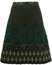 Falda de lana estampada verde oscuro de Etro