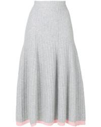 Falda de lana plisada gris de Victoria Beckham