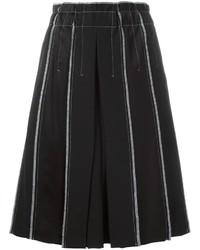 Falda de lana plisada negra de DKNY