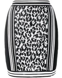 Falda de leopardo negra de Balmain