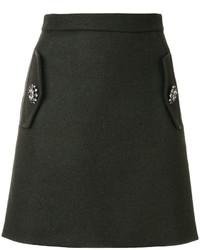 Falda de punto verde oscuro de No.21
