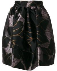 Falda de satén estampada negra de Etro
