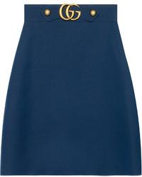 Falda de seda azul marino de Gucci