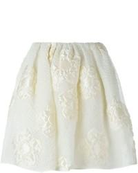Falda de seda con print de flores blanca de Fendi