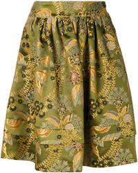 Falda de seda con print de flores verde oliva de Etro