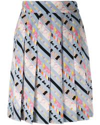 Falda de Seda Plisada Gris de Marc Jacobs