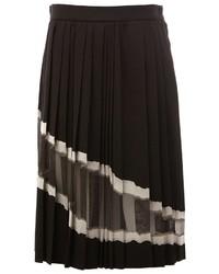 Falda de Seda Plisada Negra de Maison Margiela