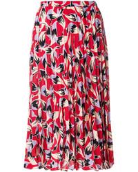 Falda de Seda Plisada Roja de No.21