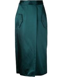 Falda de seda verde oscuro de Dion Lee