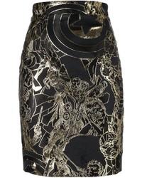 Falda lápiz bordada negra de Philipp Plein