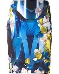 Falda lápiz con print de flores azul marino
