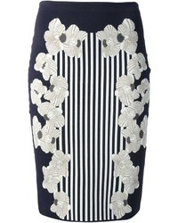 Falda lápiz con print de flores en azul marino y blanco de Diane von Furstenberg