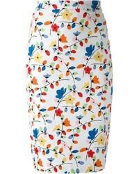 Falda lápiz con print de flores en multicolor de Love Moschino