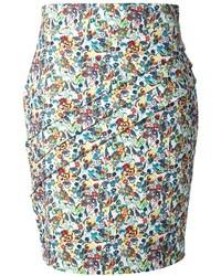 Falda lápiz con print de flores en multicolor de Versace