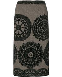 Falda lápiz con print de flores negra de M Missoni