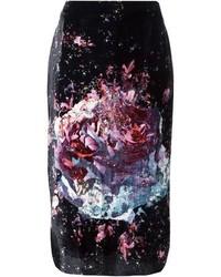 Falda lápiz con print de flores negra de MSGM