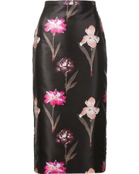 Falda lápiz con print de flores negra de Rochas