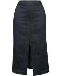 Falda lápiz con recorte azul marino de Derek Lam