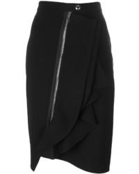 Falda Lápiz Con Volante Negra de Givenchy