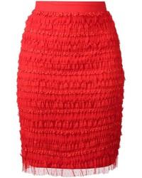 Falda Lápiz Con Volante Roja de Givenchy