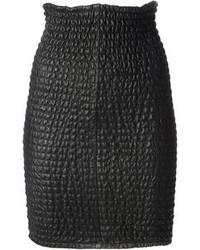 Falda lápiz de cuero acolchada negra de Damir Doma