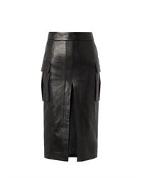 Falda lápiz de cuero con recorte negra