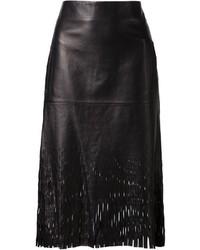Falda lápiz de cuero con recorte negra de Dion Lee
