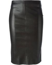 Falda lápiz de cuero negra de Jitrois