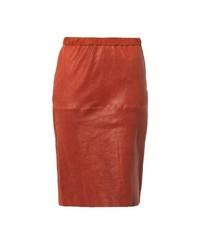 Falda lápiz de cuero roja