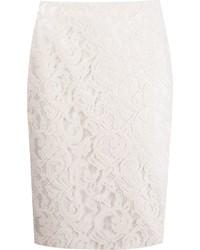 Falda Lápiz de Encaje Blanca