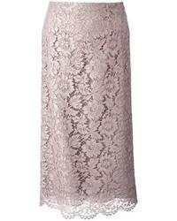 Falda lápiz de encaje gris de Valentino