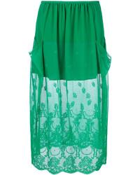 Falda lápiz de encaje verde de Stella McCartney