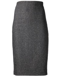 Falda lápiz de lana en gris oscuro
